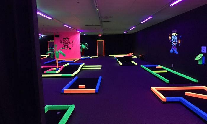 groupon glow in the dark mini golf for two four or six at glow in