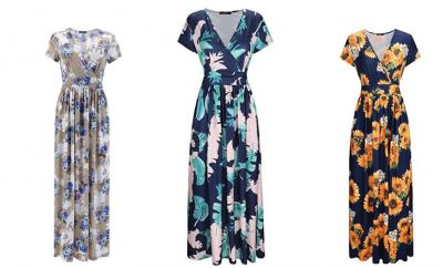 Amazon: Women's V-Neck Pattern Pocket Maxi Long Dress Under $30 (Great for Weddings!)