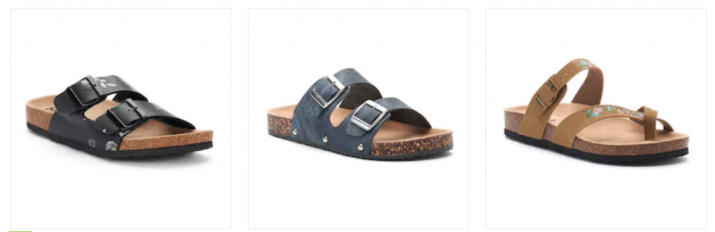 9b25358c208487 Head on over to Kohl s.com where they have Mudd Women s Sandals on sale for  just  13.99 (Reg.  24). Choose from Toe-Loop Sandals
