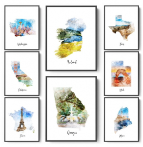 Jane.com: Watercolor Map Prints (7 Sizes) for $4.49!