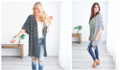 Jane.com: Super Cute Striped Bell Sleeve Cardigan Just $24.99! (4 Colors)